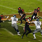 18 November 2017:  The San Diego State football team hosts Nevada Saturday night. San Diego State Aztecs quarterback Christian Chapman (10) hands the ball off to running back Rashaad Penny (20) in the third quarter. The Aztecs beat the Wolf Pack 42-23 at SDCCU stadium. <br /> www.sdsuaztecphotos.com