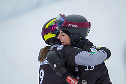 Cheyenne Loch (GER), Nadya Ochner (ITA), celebrates during Final Run at Parallel Giant Slalom at FIS Snowboard World Cup Rogla 2019, on January 19, 2019 at Course Jasa, Rogla, Slovenia. Photo byJurij Vodusek / Sportida