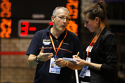 01-09-2012 VOLLEYBAL: WORLD LEAGUE 2013 QUALIFICATION NETHERLANDS - PORTUGAL : ROTTERDAM<br /> Flavio Gulinelli, coach of Portugal in a interview with Nitaya Draaisma press representative of the Nevobo