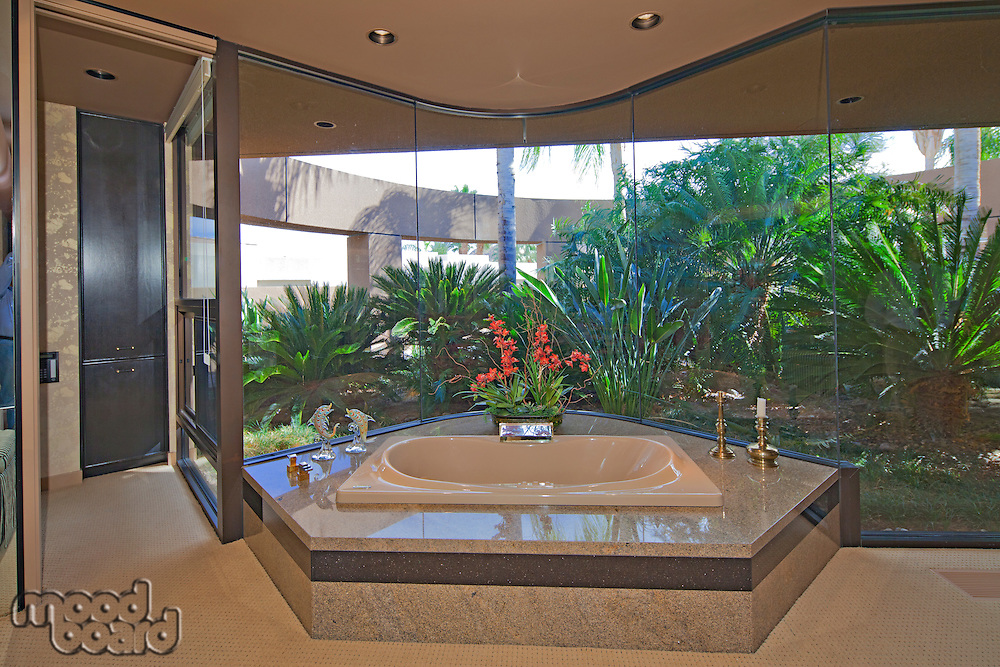 Luxurious bathroom in modern villa
