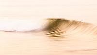 Gylden bølge kommer rullende mot land på Jæren, Rogaland.