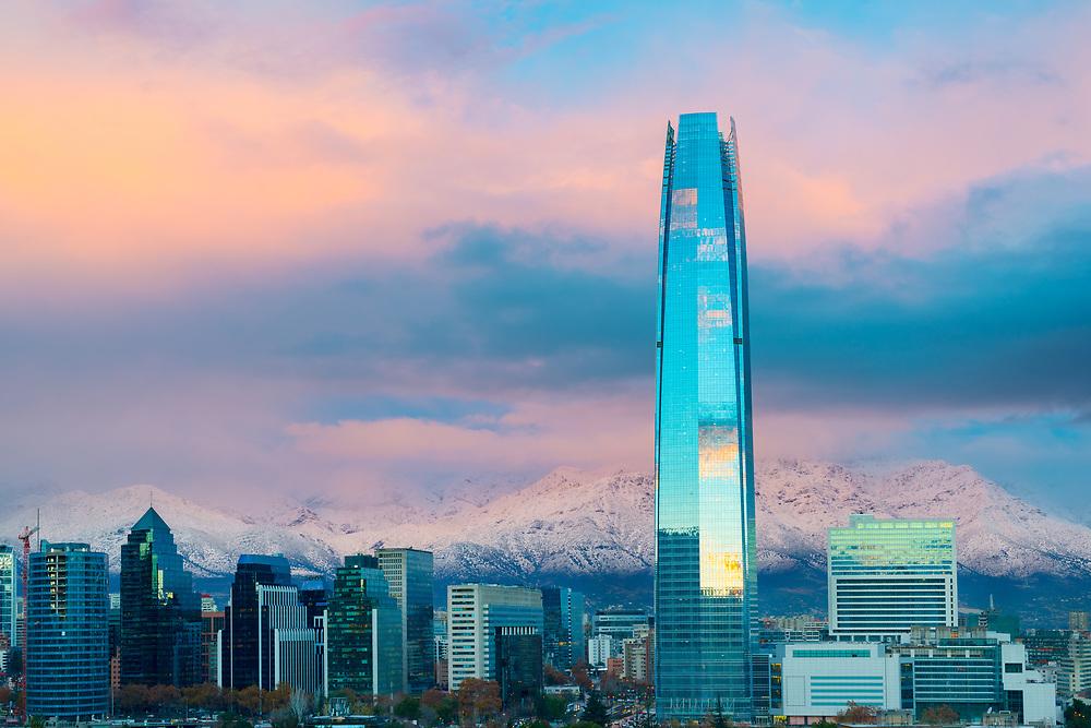 Financial district skyline with Los Andes Mountains in the back, Las Condes, Santiago de Chile