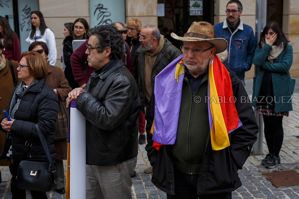 14/04/2018. Relatives and supporters attend to a homage to hand victims of Spain Civil War bodies exhumed in Cobertelada and Calata&ntilde;azor to their relatives on April 14, 2018 in Soria, Spain. La Asociacion Soriana Recuerdo y Dignidad (ASRD) 'The Soria Association for Memory and Dignity' celebrated a tribute to hand over the remains of civil war victims to their families. The Society of Sciences of ARANZADI helped with the research, exhumation and identification of the bodies, after villagers passed the information about the mass grave, 81 years after the assassination took place, to the ASRD. Seven people were assassinated around August 25, 1936 by Falangists, as part of General Francisco Franco armed forces, and buried in the 'Fosa de los Maestros' (Teachers Mass Grave) near Cobertelada, Soria, after being taken from prison of Almazan during the Spanish Civil War. Five of them were teachers in the region, and also friends of Spanish writer Antonio Machado. The other two still remain unidentified. Another body was assassinated by Falangists accompanied by a priest in 1936, and was exhumed on 23 September of 2017 near Calata&ntilde;azor, Soria. It belonged to Abundio Andaluz, a politician, lawyer and musician in Soria.<br /> Spain's Civil War took the lives of thousands of people on both sides, and civilians. But Franco continued his executions after the war has finished. Teachers, as part of the education sector, were often a target of Franco's forces. Spanish governments has never done anything to help the victims of the Civil War and Franco's dictatorship while there are still thousands of people missing in mass graves around the country. (&copy; Pablo Blazquez)