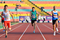 From left to right Michal Kotkowski, POL, Paul Keogan, IRE, Vladyslav Zahrebelnyi, UKR competing in the T37, 200m at the Berlin 2018 World Para Athletics European Championships