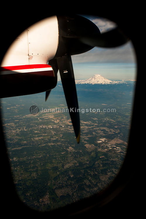 Aerial view of Mt. Jefferson from the window of a propeller plane.