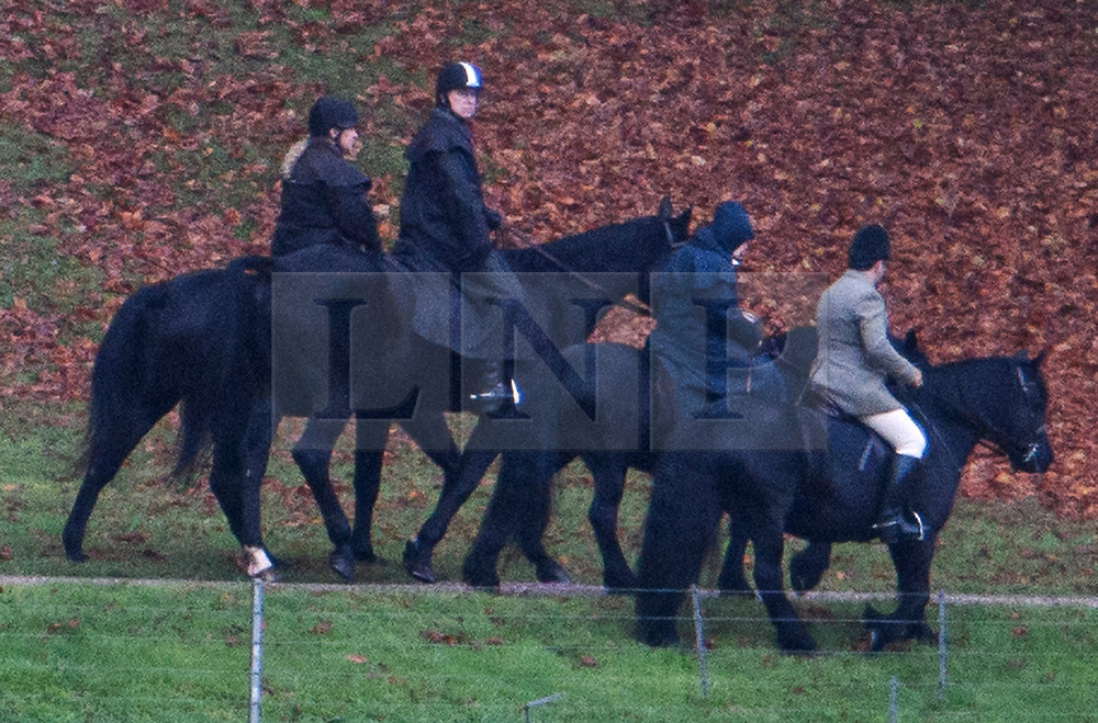 © Licensed to London News Pictures. 22/11/2019. Windsor, UK. PRINCE ANDREW, THE DUKE OF YORK (looking at camera, second left), is seen riding a horse with QUEEN ELIZABETH II (second right) in the grounds of Windsor Castle estate. Prince Andrew is stepping down from official duties following a Newsnight interview on his relationship with Jeffrey Epstein. Photo credit: Ben Cawthra/LNP