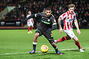 Forest Green Rovers Reuben Reid(26) on the ball during the EFL Sky Bet League 2 match between Cheltenham Town and Forest Green Rovers at Jonny Rocks Stadium, Cheltenham, England on 29 December 2018.