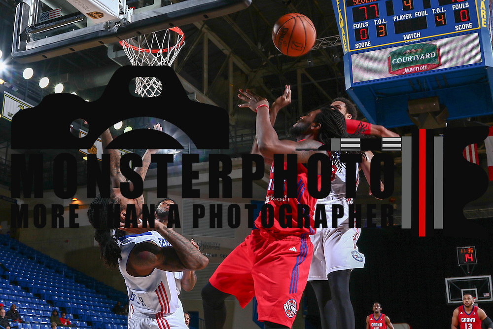 Delaware 87ers Forward JAMES WEBB III (3) blocks Grand Rapids Drive Guard CHRIS ANDERSON (24) shot attempt  in the second half of a NBA D-league regular season basketball game between the Delaware 87ers and the Grand Rapids Drive (Detroit Pistons) Tuesday. Nov. 29, 2016 at The Bob Carpenter Sports Convocation Center in Newark, DEL.