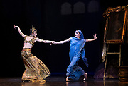 La Bayadere <br /> A ballet in three acts <br /> Choreography by Natalia Makarova <br /> After Marius Petipa <br /> The Royal Ballet <br /> At The Royal Opera House, Covent Garden, London, Great Britain <br /> General Rehearsal <br /> 30th October 2018 <br /> <br /> STRICT EMBARGO ON PICTURES UNTIL 2230HRS ON THURSDAY 1ST NOVEMBER 2018 <br /> <br /> Marianela Nunez as Nikiya <br /> A Bayadere and a temple dancer <br /> <br /> <br /> Natalia Osipova as Gamzatti <br /> <br /> <br /> Photograph by Elliott Franks Royal Ballet's Live Cinema Season - La Bayadere is being screened in cinemas around the world on Tuesday 13th November 2018 <br />