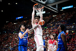 May 26, 2018 - Milan, Milan, Italy - Arturas Gudaitis (#77 EA7 Emporio Armani Milano)make a slam dunk during a basketball game of Poste Mobile Playoff Lega Basket A between  EA7 Emporio Armani Milano vs Germani Basket Brescia at Mediolanum Forum, in Milan, Italy, on 26 May 2018. (Credit Image: © Roberto Finizio/NurPhoto via ZUMA Press)
