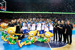 Players of second placed France at medal ceremony after the final basketball game between National basketball teams of Spain and France at FIBA Europe Eurobasket Lithuania 2011, on September 18, 2011, in Arena Zalgirio, Kaunas, Lithuania. Spain defeated France 98-85 and became European Champion 2011. (Photo by Vid Ponikvar / Sportida)