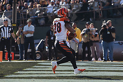 OAKLAND, CA - NOVEMBER 17: Running back Joe Mixon #28 of the Cincinnati Bengals scores a touchdown against the Oakland Raiders during the first quarter at RingCentral Coliseum on November 17, 2019 in Oakland, California. The Oakland Raiders defeated the Cincinnati Bengals 17-10. (Photo by Jason O. Watson/Getty Images) *** Local Caption *** Joe Mixon