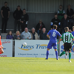 TELFORD COPYRIGHT MIKE SHERIDAN GOAL. Callum Roberts of Blyth scores to make it 1-0 during the National League North fixture between Blyth Spartans and AFC Telford United at Croft Park on Saturday, September 28, 2019<br /> <br /> Picture credit: Mike Sheridan<br /> <br /> MS201920-023