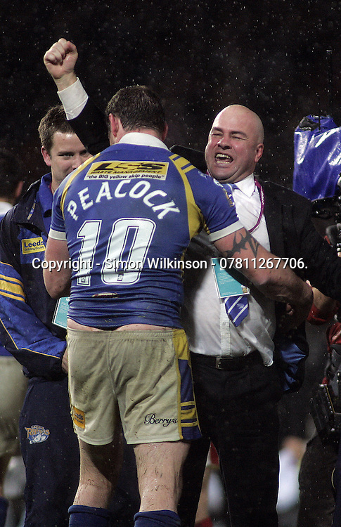 PICTURE BY BEN DUFFY/SWPIX.COM - Rugby League - Super League Grand Final - St. Helens Saints v Leeds Rhinos - Old Trafford, Manchester, England - 04/10/08.<br /><br />Copyright - Simon Wilkinson - 07811267706.<br /><br />Leeds Jamie Peacock and Brian McLennan celebrate.