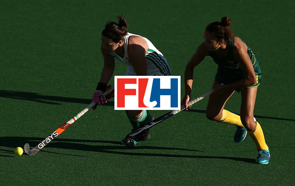 JOHANNESBURG, SOUTH AFRICA - JULY 20:  Quanita Bobbs of South Africa battles with Roisin Upton of Ireland during the 5th/ 8th place play-off match between South Africa and Ireland at Wits University on July 20, 2017 in Johannesburg, South Africa.  (Photo by Jan Kruger/Getty Images for FIH)