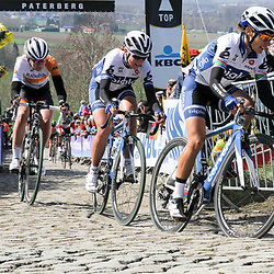 05-04-2015: Wielrennen: Ronde van Vlaanderen vrouwen: Belgie<br /> OUDENAARDE (BEL) cycling<br /> The 3th race in the UCI womens World Cup is the 12th edition of the Ronde van Vlaanderen. The race distance is 145 km with 12 Climbs and 5 zones of Cobbles.<br /> On the Paterberg, Asleigh Moolman, Annemiek van Vleuten, Anna van der Breggen