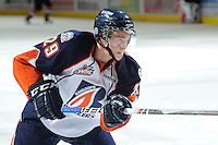 KELOWNA, CANADA, OCTOBER 29: Aspen Sterzer #29 of the Kamloops Blazers takes a shot on net during warm up as the Kamloops Blazers visit the Kelowna Rockets  on October 29, 2011 at Prospera Place in Kelowna, British Columbia, Canada (Photo by Marissa Baecker/Shoot the Breeze) *** Local Caption *** Aspen Sterzer;