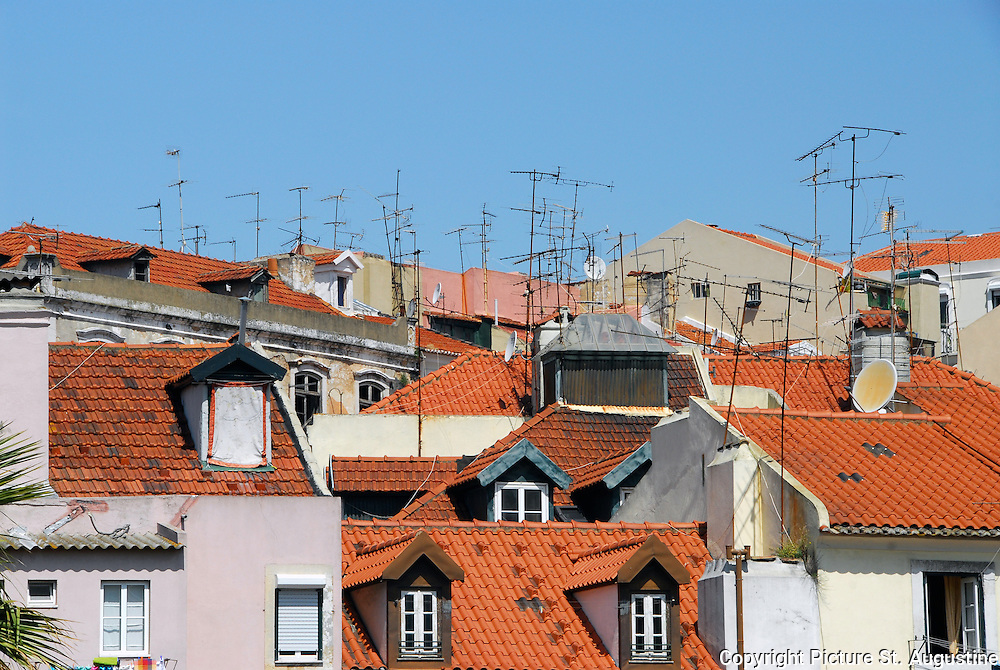 The red tile roof tops of Lisbon, Portugal.