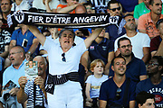 Supporter of Angers with it scarf where it is written 'Fier d etre Angevin' during the French championship L1 football match between SCO Angers and Bordeaux on August 6th, 2017 at Raymond-Kopa stadium, France - PHOTO Stéphane Allaman / ProSportsImages / DPPI