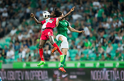 Ibrahim Arafat Mensah of NK Aluminij  vs Filip Uremovic of NK Olimpija during football match between NK Aluminij and NK Olimpija Ljubljana in the Final of Slovenian Football Cup 2017/18, on May 30, 2018 in SRC Stozice, Ljubljana, Slovenia. Photo by Vid Ponikvar / Sportida