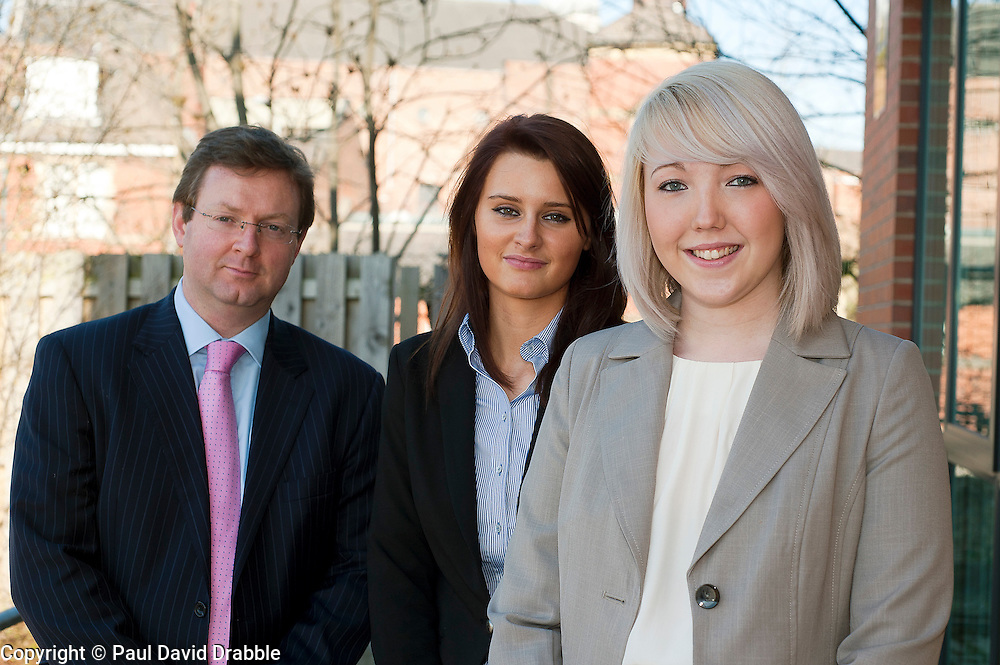 Grant Thorntons newest Recruits Phoebe Tresize (right) and Sarah Clark with Grant Thornton Partner Paul Houghton..http://www.pauldaviddrabble.co.uk.26 March 2012 .Image © Paul David Drabble