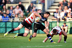 Jeff Williams of Bath Rugby takes on the Gloucester defence - Mandatory byline: Patrick Khachfe/JMP - 07966 386802 - 26/09/2015 - RUGBY UNION - The Recreation Ground - Bath, England - Bath Rugby v Gloucester Rugby - West Country Challenge Cup.