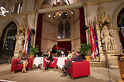 "Vienna, Austria. Cocktail reception hosted by Mayor Michael Häupl at City Hall for international scientists and researchers living and working in Vienna.<br /> Podium discussion ""The Experiences of International Scientists and Researchers Living and Working in Vienna - Challenges and rewards"".<br /> From l.: Prof. Katharine Sarikakis, Media Organisation and Governace, University of Vienna; Renata Schmidtkunz, TV journalist; Giulio Superti-Furga, Scientific Director of the CeMM Research Center for Molecular Medicine of the Austrian Academy of Science."