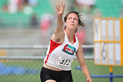 (Sherbrooke, Quebec---10 August 2008) Sonia Chartrand competing in the heptathlon shot put at the 2008 Canadian National Youth and Royal Canadian Legion Track and Field Championships in Sherbrooke, Quebec. The photograph is copyright Sean Burges/Mundo Sport Images, 2008. More information can be found at www.msievents.com.