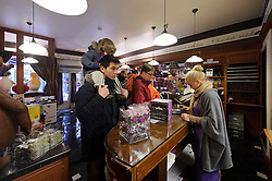 With a line stretching out the door, customers wait to be helped at the Chocolate Line shop in Bruges, Belgium (Simon Stevinplein 19 ; 32-50-34-10-90 ; thechocolateline.be ). (Photo © Jock Fistick)