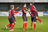 Ollie Rowe celebrates his goal with Chris Shephard, Sam Cole and Charlie Gorman Eastbourne Borough Football Club