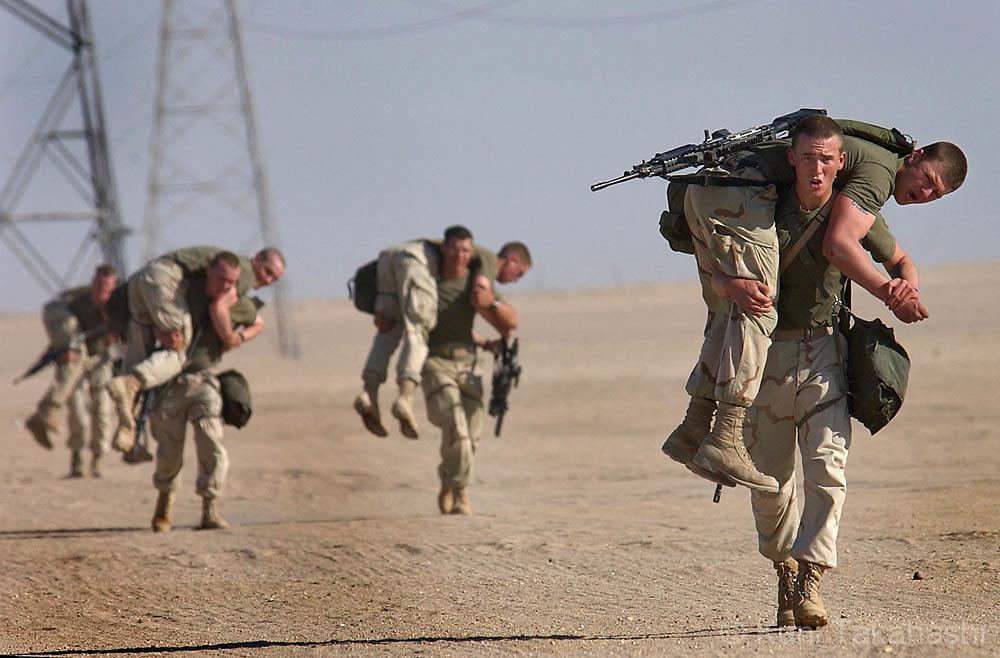The U.S Marines prepare for invasion of Iraq in March 2003.