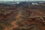 Ariel photograph during a spring storm, Canyonlands National Park, Utah.