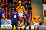 Alex Rodriguez Gorrin of Motherwell jumps for the ball during the Ladbrokes Scottish Premiership match between Motherwell and Heart of Midlothian at Fir Park, Motherwell, Scotland on 17 February 2019.