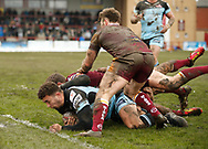 Jack Owens of Leigh Centurions dives towards the try line against Batley Bulldogs during the Ladbrokes Challenge Cup match at Fox's Biscuits Stadium, Batley<br /> Picture by Stephen Gaunt/Focus Images Ltd +447904 833202