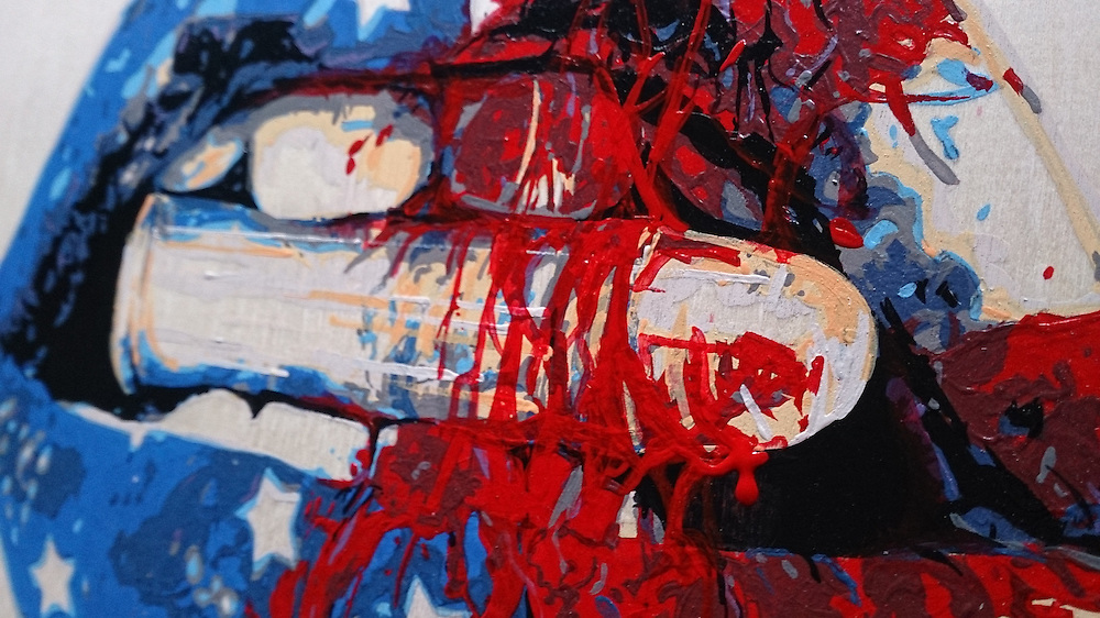 "Original: ""Bite US A Bullet"" - 11""x14"" Acrylic on Birch panel - SOLD."