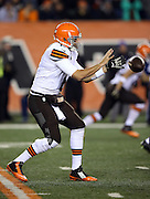Cleveland Browns quarterback Brian Hoyer (6) catches a shotgun snap during the NFL week 10 regular season football game against the Cincinnati Bengals on Thursday, Nov. 6, 2014 in Cincinnati. The Browns won the game 24-3. ©Paul Anthony Spinelli