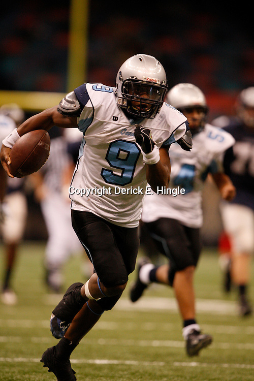 2008 December 13: Hurricanes quarterback/cornerback Ridge Turner runs with the ball during the Class 1A LHSAA State Championship game, a 62-16 victory by the South Plaquemines Hurricanes over Christian Life Academy at the Louisiana Superdome in New Orleans, LA. On February 4, 2009 Turner signed to play college football at Northwestern State. (photo by Derick Hingle)