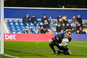 Queens Park Rangers goalkeeper Joe Lumley (13) makes a save during the EFL Sky Bet Championship match between Queens Park Rangers and Rotherham United at the Loftus Road Stadium, London, England on 13 March 2019.