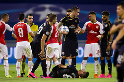 Jeremy Taravel #87 of GNK Dinamo Zagreb and Alex Oxlade-Chamberlain #15 of Arsenal F.C. during football match between GNK Dinamo Zagreb, CRO and Arsenal FC, ENG in Group F of Group Stage of UEFA Champions League 2015/16, on September 16, 2015 in Stadium Maksimir, Zagreb, Croatia. Photo by Urban Urbanc / Sportida