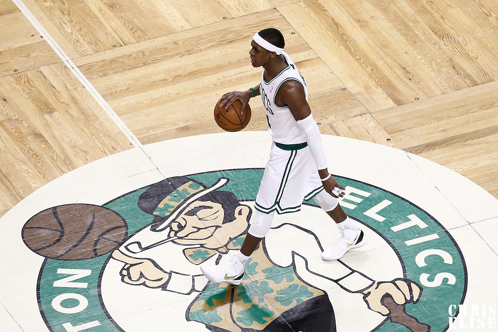03 June 2012: Boston Celtics point guard Rajon Rondo (9) brings the ball upcourt during the first quarter of Game 4 of the Eastern Conference Finals playoff series, Heat at Celtics, at the TD Banknorth Garden, Boston, Massachusetts, USA.
