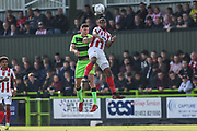 Cheltenham Town's Tyrone Barnett(29) and Forest Green Rovers Paul Digby(20) during the EFL Sky Bet League 2 match between Forest Green Rovers and Cheltenham Town at the New Lawn, Forest Green, United Kingdom on 20 October 2018.