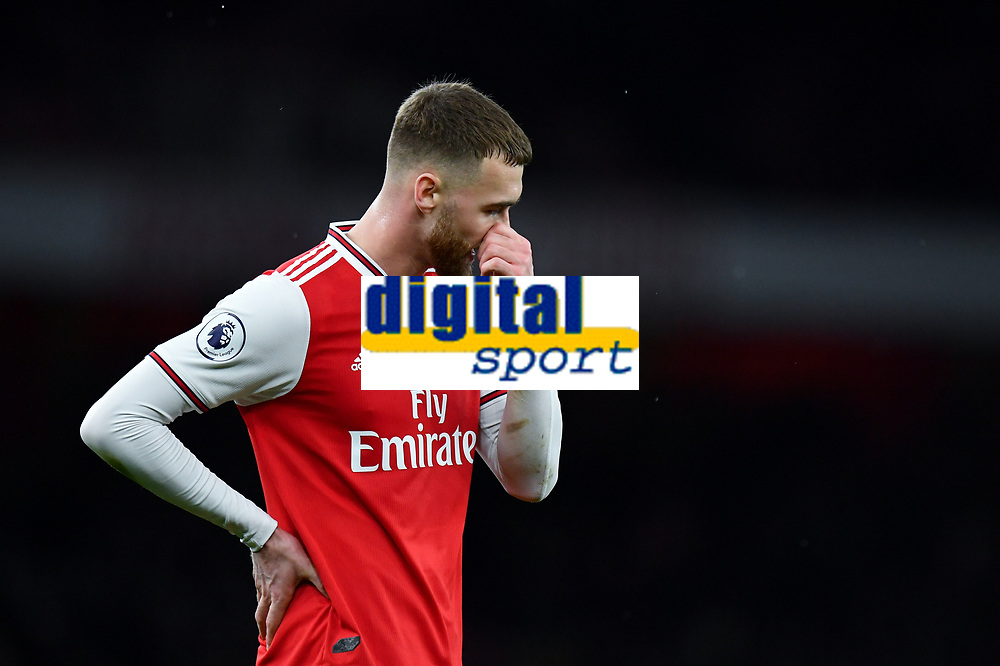 Football - 2019 / 2020 Premier League - Arsenal vs. Manchester City<br /> <br /> Arsenal's Calum Chambers dejected at the final whistle, at The Emirates.<br /> <br /> COLORSPORT/ASHLEY WESTERN