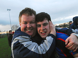 Westport RFC President and coach to the Under 17's congratulates his son Dwayne who played more than his part scoring all 17pts as Westport defeated Galwegians (17-13 ) to win the Under 17 league in Tuam on saturday evening...Pic Conor McKeown