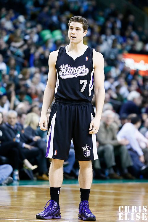 30 January 2013: Sacramento Kings point guard Jimmer Fredette (7) rests during the Boston Celtics 99-81 victory over the Sacramento Kings at the TD Garden, Boston, Massachusetts, USA.