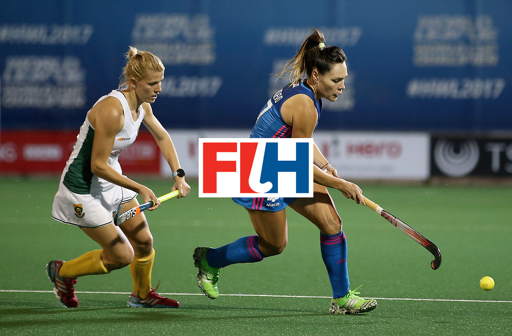 JOHANNESBURG, SOUTH AFRICA - JULY 12: Tarryn Glasby of South Africa and Noel Barrionuevo of Argentina  during day 3 of the FIH Hockey World League Semi Finals Pool B match between South Africa and Argentina at Wits University on July 12, 2017 in Johannesburg, South Africa. (Photo by Jan Kruger/Getty Images for FIH)