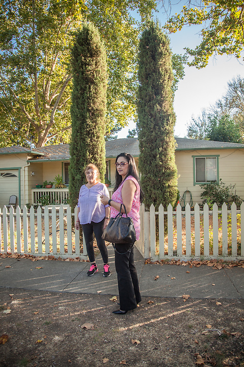 "Maria Hernandez and her daughter, Aly, in front of their home in Calistoga  ""I want to see more affordable housing in Calistoga...especially for seniors like my mom.""  -Aly Hdrnandez"
