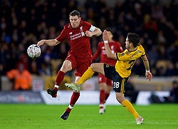 WOLVERHAMPTON, ENGLAND - Monday, January 7, 2019: Liverpool's captain James Milner (L) and Wolverhampton Wanderers' João Moutinho during the FA Cup 3rd Round match between Wolverhampton Wanderers FC and Liverpool FC at Molineux Stadium. (Pic by David Rawcliffe/Propaganda)