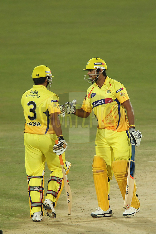 Suresh Raina of the Chennai Super Kings and Murali Vijay of the Chennai Super Kings during match 9 of the Airtel CLT20 held between the Chennai Super Kings v Wayamba Elevens at Supersport Park in Centurion on the 15 September 2010..Photo by: Ron Gaunt/SPORTZPICS/CLT20