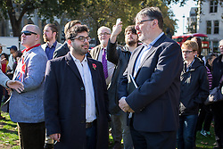 © Licensed to London News Pictures. 28/10/2016. London, UK. Raheem Kassam, who launched his UKIP leadership contender bid this morning attends a rally in support of support of Sgt Alexander Blackman, also known as 'Marine A', who was given a life sentence after being convicted of murdering a wounded Taliban fighter. Photo credit : Tom Nicholson/LNP