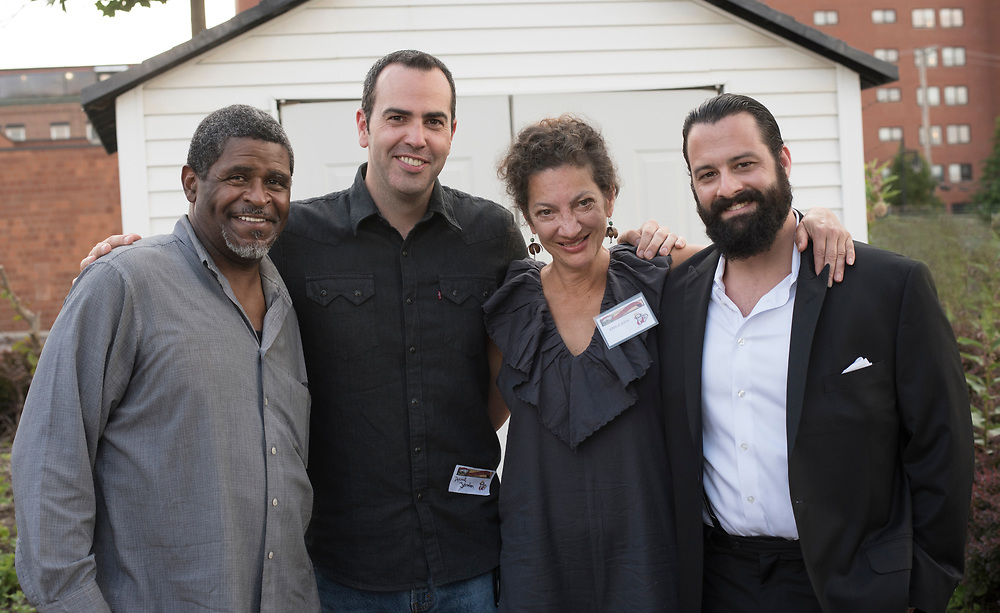 (left to right) Actors Wali Jamal, Patrick Jordan, Karla Boos, and Michael Sullivan at the Meet & Greet and Commemorate with Mark Rylance for the Battle of Homestead Foundation.